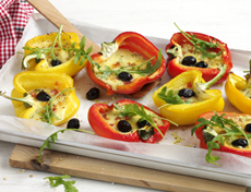 Filled peppers with Mediterranean raclette