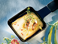 Raclette cheese with beef filet, lemon-thyme and celery